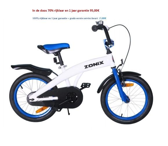 Zonix Jongensfiets 16 inch Spitfire blauw,wit Spitfire wit 95,00€