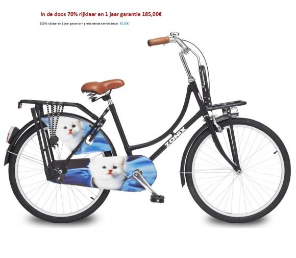Zonix Omafiets 24 inch Licht Creme,Matzwart,zwart poezen met Voordrager 185,00€