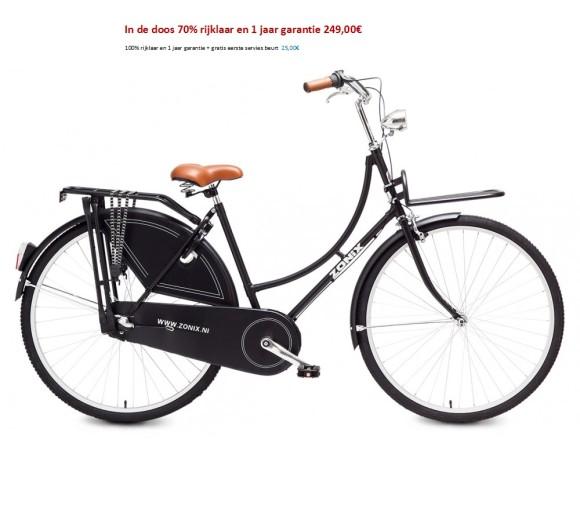 Zonix omafiets 28 inch 3sp wit,zwart met Voordrager 249,00€