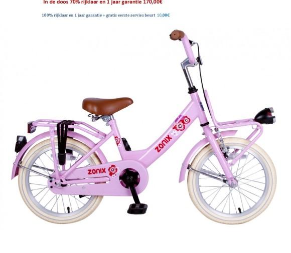 Meisjesfiets 16 inch wit,roze met Voordrager 170,00€