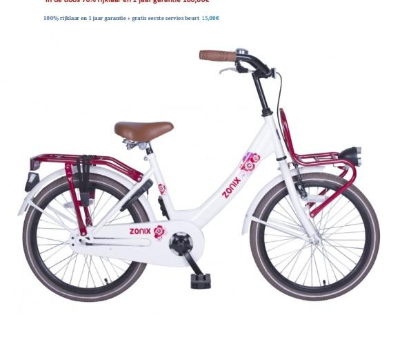 Meisjesfiets 20 inch wit,roze met Voordrager 180,00€