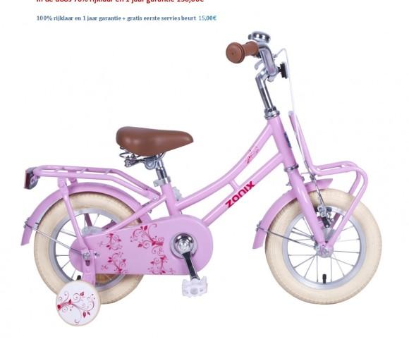 Omafiets 12 inch wit,roze,licht groen  met Voordrager 130,00€